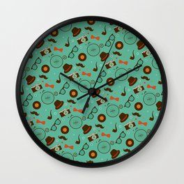 Colorful Hipster Elements Pattern on green Wall Clock