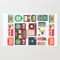 technology Area & Throw Rugs featuring Retro Technology 1.0 by Ralph Cifra