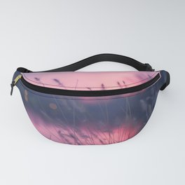 Magnificent Tall Grass At Waterfront At Lovely Evening Red Violet Hue High Resolution Fanny Pack
