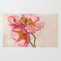 jazzberry Area & Throw Rugs featuring Like Light through Silk - peach / pink translucent poppy floral by micklyn