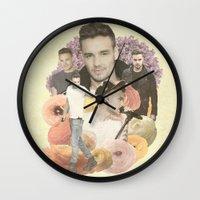 liam payne Wall Clocks featuring Liam Payne + Flowers by Ladsandstuff