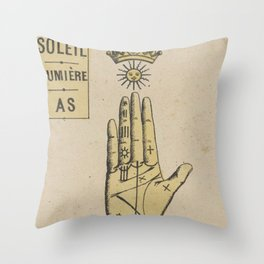 Vintage French Sun Tarot Card Throw Pillow