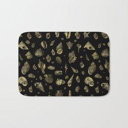 Sea shells pattern gold on black 2 Bath Mat