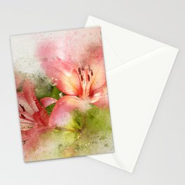 Red Lily Flower Stationery Cards