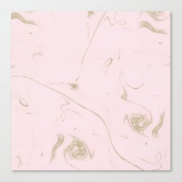 Luxe gold and blush marble image Canvas Print