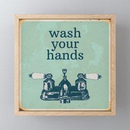 Wash Your Hands | Bathroom Rules, Vintage Distressed Bathroom Sign, Farmhouse Decor Framed Mini Art Print