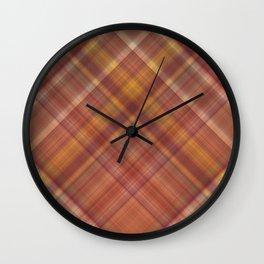 Autumn Orange Plaid Pattern Wall Clock