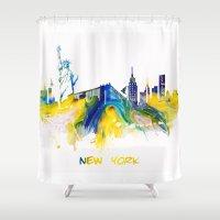 new york skyline Shower Curtains featuring New York City Skyline  by jbjart