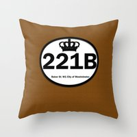 221b Throw Pillows featuring 221B by Lugonbe