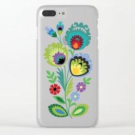 Polish Folk Flowers Green Clear iPhone Case