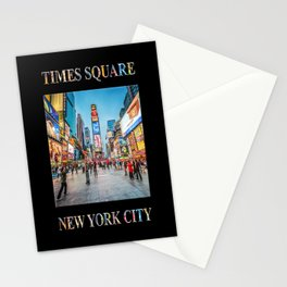 Times Square Sparkle (poster on black) Stationery Cards