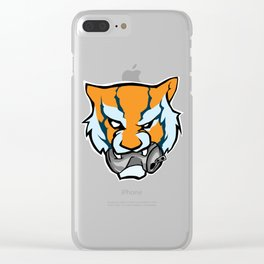 Tiger Head Bitting Beer Can Orange Clear iPhone Case