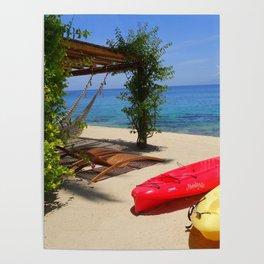 Kayaks on a Tropical Island Poster