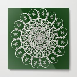 Mandala #104, Deep Green and White Metal Print