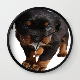 Cute Rottweiler Puppy Lapping Milk Vector Wall Clock