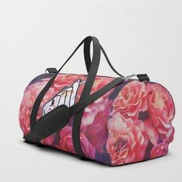 Love Finger Snap Floral Duffle Bag