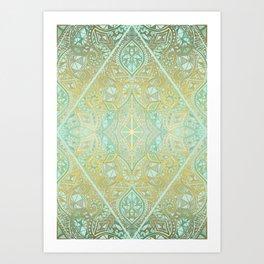 Mint & Gold Effect Diamond Doodle Pattern Art Print