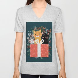 Cats cute christmas xmas tree holiday funny cat art cat lady gift unique pet gifts Unisex V-Neck
