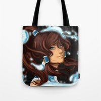 the legend of korra Tote Bags featuring Korra by BubbleJuiceBox