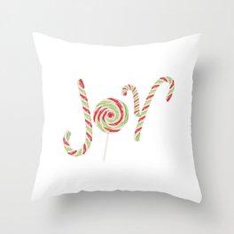 Candy joy word Throw Pillow