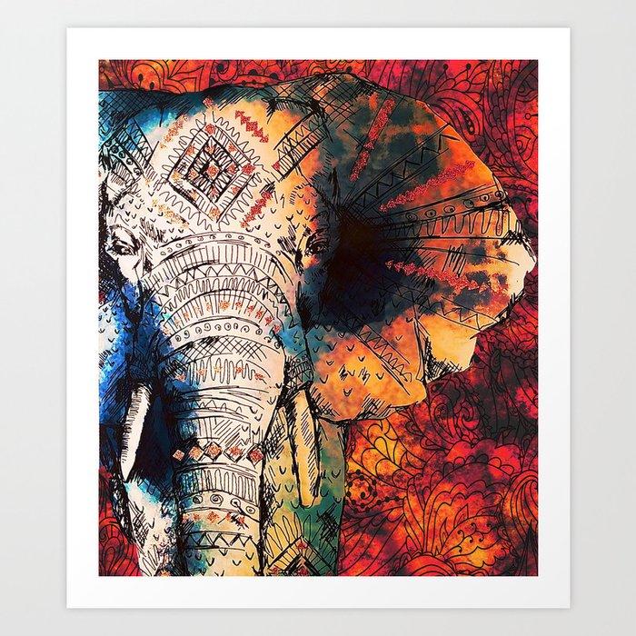 Hindu Poster Art: Indian Sketched Elephant Red Orange Art Print By