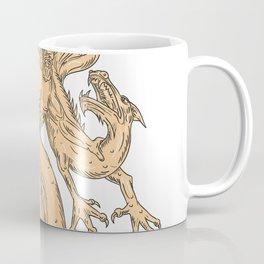 Hercules Fighting Dragon Drawing Color Coffee Mug