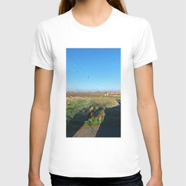 Landscape behind the frosted glass T-shirt
