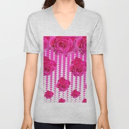 ABSTRACTED CERISE PINK ROSES GARDEN ART Unisex V-Neck