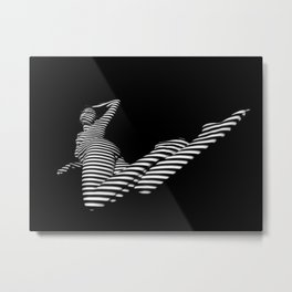 6947-KMA Black White Stripe Zebra Woman Nude by Chris Maher Metal Print