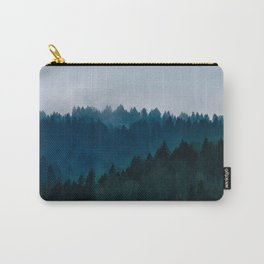 Misty Dark Blue Green Forest Carry-All Pouch
