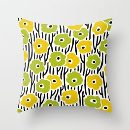Mid Century Modern Wild Flowers Pattern Chartreuse and Yellow Throw Pillow