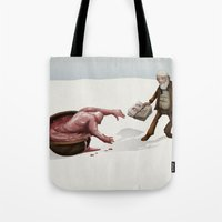 evolution Tote Bags featuring Evolution by Lee Grace Illustration