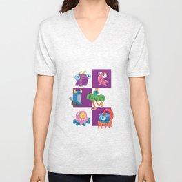 Six Silly Little Monsters Unisex V-Neck
