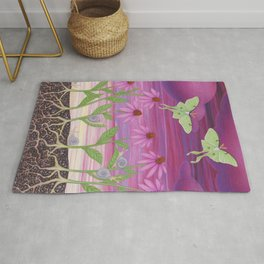 echinacea daydream with luna moths and snails Rug