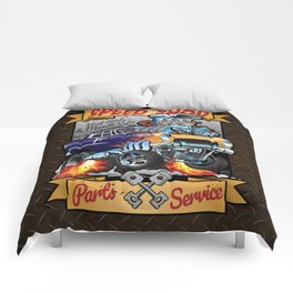 Speed Shop Hot Rod Muscle Car Parts and Service Vintage Cartoon Illustration Comforters