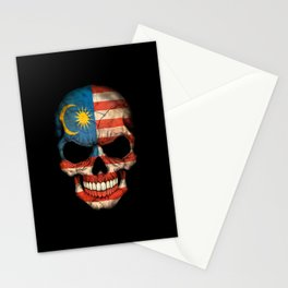 Dark Skull with Flag of Malaysia Stationery Cards