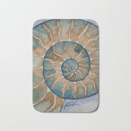 Ammonite fossil watercolor painting Bath Mat