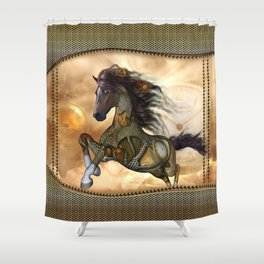 Steampunk, awesome steampunk horse Shower Curtain
