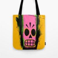 grim fandango Tote Bags featuring Manny Calavera, Yellow version (Grim Fandango) by acefecoo