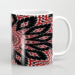Black Red and White Bold Floral Kaleidoscope Coffee Mug