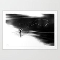 A river runs through it. (dotted) Art Print