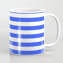 Even Horizontal Stripes, Blue and White, M Coffee Mug