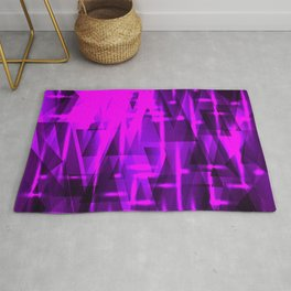 Luxurious purple triangles and metal stripes of blueberry create abstraction and glow. Rug