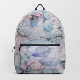 Shabby vintage pastel pink teal floral butterfly typography Backpack