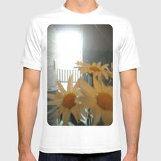 Chicago Daisies ~ flowers SMALL White Mens Fitted Tee