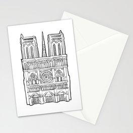 Notre Dame facade illustration. Stationery Cards