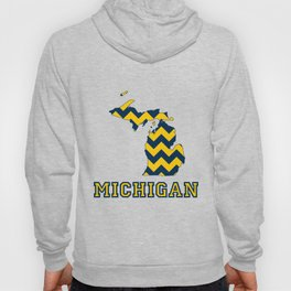 Collegiate Michigan Maize and Blue Chevron Pattern Hoody