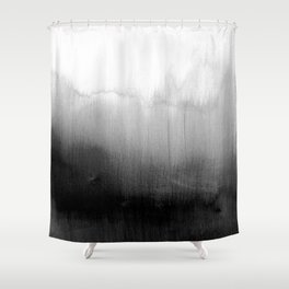 Modern Black and White Watercolor Gradient Shower Curtain