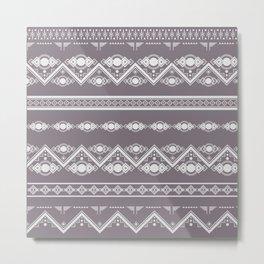 Modern Tribal Geometric Stripe Pattern in Aubergine Metal Print