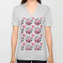 Hand painted blush pink gray yellow watercolor roses pattern Unisex V-Neck